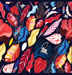 autumn seamless pattern with color leaves vector image