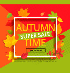 Autumn super sale banner vector