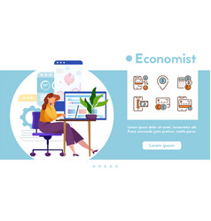 banner economist with linear icons set vector image