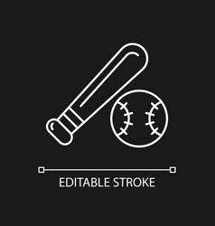 baseball white linear icon for dark theme vector image