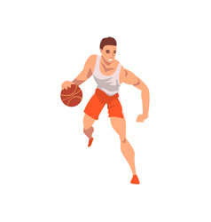 Basketball player running with ball male athlete vector