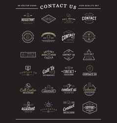 big set of contact us service elements vector image