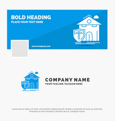 Blue business logo template for insurance home vector