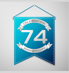 blue pennant with inscription seventy four years vector image