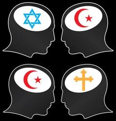 brains of religious fanatics vector image