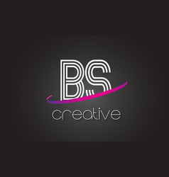 Bs b s letter logo with lines design and purple vector