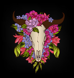 bull skull decorated with flowers tattoo or vector image