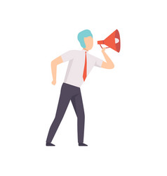 businessman with a megaphone successful business vector image
