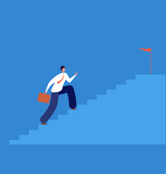 Career goal man running stairs successful path vector