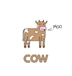 cartoon cow flashcard for children vector image