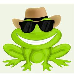 Cartoon frog in sunglasses vector