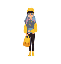 cartoon teen girl student with book vector image
