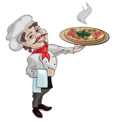 Chef Holding Pizza vector image
