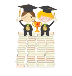 Children Wearing Graduation Suit Education Concept vector image
