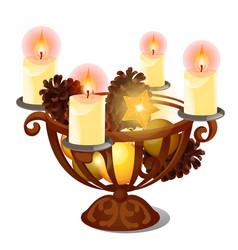 christmas sketch with burning candles in iron vector image