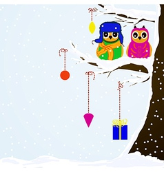 Chrstmas owls on branch of tree background vector image