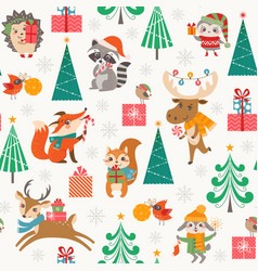 Cute christmas woodland pattern with happy vector