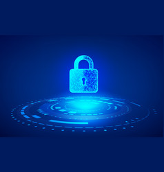 cyber security concept closed digital padlock on vector image