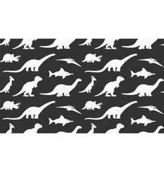 Dinosaurs white silhouettes on black background vector image
