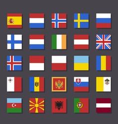 Europe flag icon set Metro style vector image