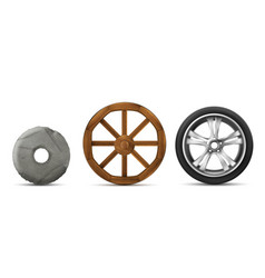 evolution stone wooden and modern wheels vector image