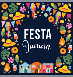 Festa junina brazilian june party greeting card vector