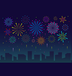 fireworks in city festive christmas salute over vector image