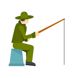 fisherman sitting with fishing rod icon flat style vector image