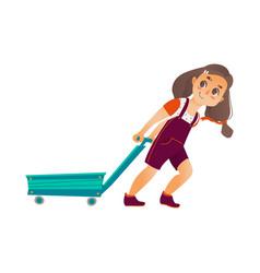 Flat happy girl pulling empty cart vector