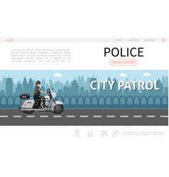 flat police web page template vector image