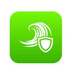 flood protection icon green vector image