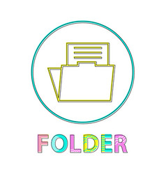 folder round linear icon template for modern app vector image