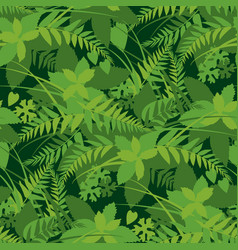 forest leaves greenery seamless pattern vector image