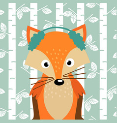 Fox on background of birch trees vector