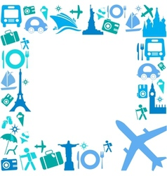 Frame with travel icons vector