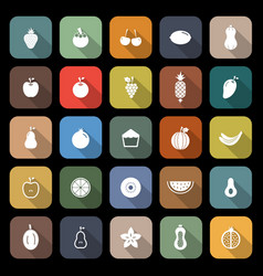 fruit flat icons with long shadow vector image