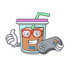 Gamer bubble tea mascot cartoon vector