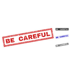 Grunge be careful scratched rectangle watermarks vector
