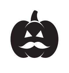 Halloween black pumpkin with mustache vector