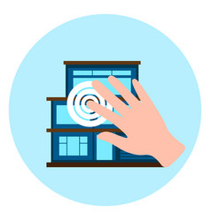 Hand touch smart house icon modern home control vector