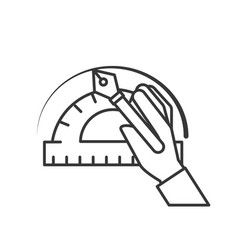 hand with fountain pen protractor graphic design vector image