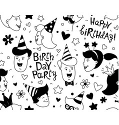 happy birthday lettering thin line seamless vector image