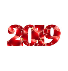 happy new year card number 2019 with red and gold vector image