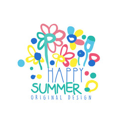 Happy summer logo original design colorful label vector