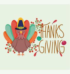 happy thanksgiving day turkey character season vector image