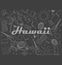 hawaii piece of chalk line art design vector image