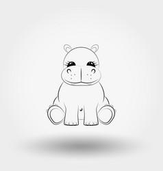 Hippo baicon art line vector