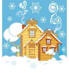 houses in winter vector image
