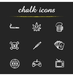 Human addictions chalk icons set vector