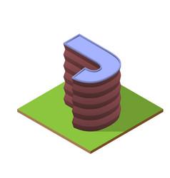Isometric building letter j form vector